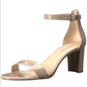 Nine West Nude Patent Block Heeled Sandals 8M